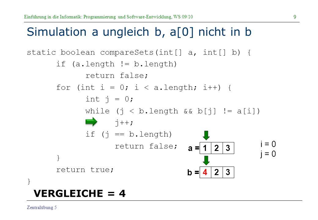 Simulation a ungleich b, a[0] nicht in b